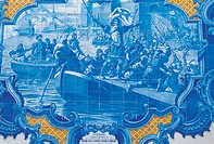Portugal, Ribatejo, azulejo, illustration of the Lusiads poem