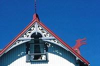 Denmark, Faroe Islands, T=rshavn, dragon sculpted on a gable's house