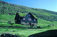 Denmark, Faroe Islands, Streymoy, country house at Kirkjubons