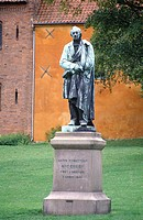 Denmark, Odense, statue of Andersen
