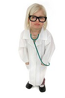 A sad looking blonde colour hair girl with stethoscope wearing a doctor's suit