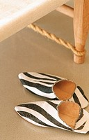 Zebra striped slippers