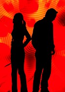 Silhouette of couple in no talking terms
