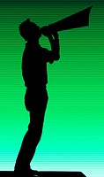 Silhouette of man blowing horn