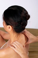 Woman getting shoulder massage