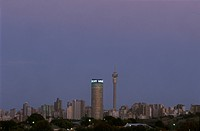 City-Skyline-at-Dusk,-Johannesburg,-Gauteng,-South-Africa