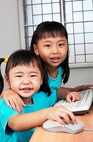 Girls using computer