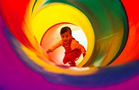 Girl inside a slide