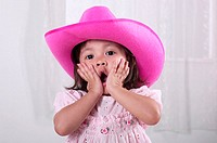 Girl wearing pink hat