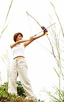Woman playing archery