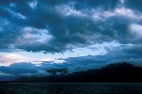 Clouds at dusk, Kootenay Lake & Mountains, near Sanca, BC, Canada