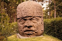 Colossal-Head-from-Tres-Zapotes,-Stone-Olmec,-close-up,-Mexican-N.-Museum-of-Anthropology