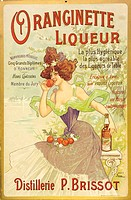Advertement for Oranginette liqueur designed by Nover in similar style to the well known Absinthe Blanqui poster.