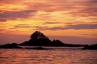Islet at dusk, Vancouver Island, British Columbia, Canada