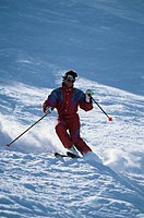 Man skiing, Squaw Valley, California, USA,