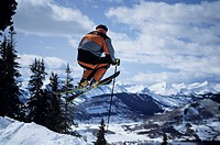 Skier in mid-air, Crested Butte, Colorado, USA