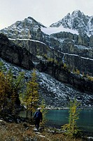Man hiking, Canadian Rockies, Alberta