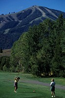 Two women playing golf, Big Wood Golf Course, Sun Valley, Idaho, USA, elevated view