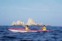 Couple sea kayaking