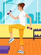 Woman lifting barbells while doing step aerobics, side view
