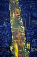 View from the Montparnasse tower, Rue de Rennes, Paris. France