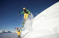 Skiing, ski, jump, action, extreme, deep snow, snowboard, holidays, vacation, snow, winter sports, winter, sports, Alp