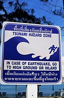 Asia, Thailand, Phuket, Kamala Beach, Tsunami Warning Sign, Post Tsunami, Travel