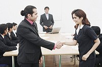 Side profile of a businessman and a businesswoman shaking hands in a meeting