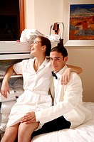 Hotel maid and waiter taking a break (thumbnail)