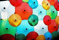 Multi coloured parasols