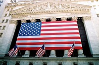 American Flag outside New York Stock Exchange, Wall Street, New York City