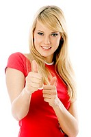 Woman showing two thumbs up