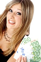 Businesswoman holding bank notes