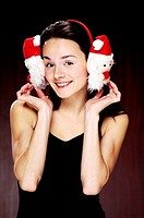 Woman wearing cute earmuffs (thumbnail)