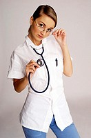 Female doctor wearing a stethoscope