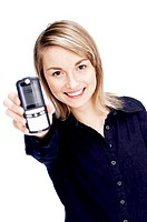Businesswoman showing a mobile phone