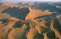 Sand dunes in the Namib Desert; aerial view. Namib-Naukluft Park, Namibia.