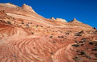 Paria Canyon Vermillion Cliffs Wilderness North Coyote buttes. Sandstone landscape. Structure, blue sky. Arizona. USA