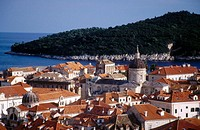 Old town Dubrovnik with Lokrum Island behind and the dome of the cathedral of the Assumption of the Virgin. Croatia
