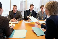 Businesspeople collaborating during meeting