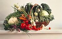 A Basket Full of Assorted Vegetables