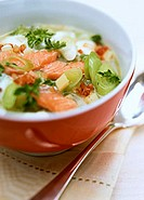 Salmon soup with leeks