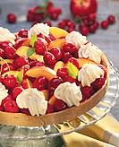 Colourful fruit tart with cream rosettes & lemon balm leaves