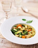 Clear broth with egg custard and vegetables