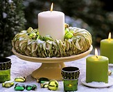 Apple candle ring with green tree ornament