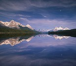 Canada, Alberta, Maligne Lake and Queen Elizabeth Range