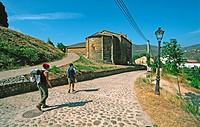 Pilgrims. Road to Santiago. Villafranca del Bierzo, Los Ancares, León, Spain