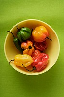 Various chili peppers in yellow bowl