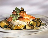 Salmon on rice with deep-fried aubergine and coconut sauce