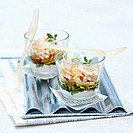 Vegetable and sprout mix with tzatziki in glasses